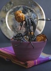 Black spaghetti with Monkfish (Nria Farregut) Tags: food pasta recipes spaghetti spanishrecipes