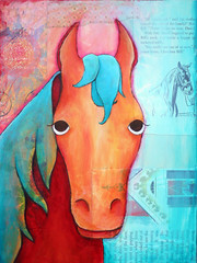 QuartetHorse (Ferntree Studio) Tags: pink blue red horse orange art chicken animal kids painting children fun pig colorful acrylic farm mixedmedia goat whimsical nurserydecor ferntreestudio angelatraunig