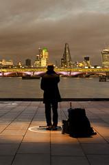 London dreams (Vasilis Mantas) Tags: street city greatbritain england musician music london night shot unitedkingdom dream streetphotography vision:sunset=0795 vision:sky=0798