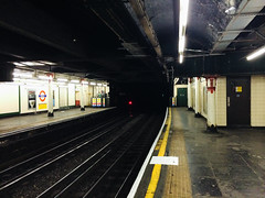 Temple Underground Station, Temple, London. March 12th, 2012. (MrJamesAckerley) Tags: london subway tracks railway tubestation londonunderground templetubestation indoorrailway