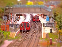 It's a model Tube Station at Epping. 06 04 2014 tiltshift (pnb511) Tags: red london station train underground doors tube platform centralline lu terminus carriages tfl tiltshift eppingtubestation