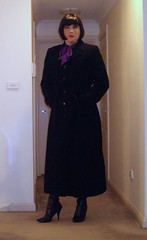 Dressed For Work (8) (Furre Ausse) Tags: winter brown black work belt purple boots coat skirt blouse full business suit bow satin length tweed career overcoat
