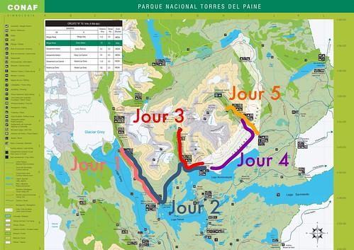 Itinéraire du Trek W à Torres del Paine