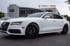 2014 A7 - Matte White Wrapped with XO Luxury Black Wheels (naplesspeed) Tags: suspension wrapped audi a7 mattewhite audinaples xowheels naplesspeed xoluxury milanwheels