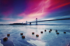 Frozen .. San Francisco (Taha Elraaid) Tags: bridge snow art ice nature water skyline photoshop sunrise wonderful photography idea bay frozen amazing san francisco colorful fine creative fresh adobe imagination taha waterscape whatif elraaid tahaelraaid