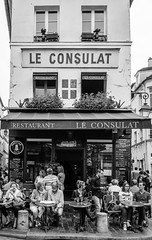 Cafe Culture (Jim's Camera Obscura) Tags: street blackandwhite holiday paris france coffee cafe tea relaxing montmartre tourists tables visitors parisian cafeculture leconsulat d5100