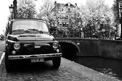 italian design in Amsterdam (doscon) Tags: bw holland netherlands car amsterdam canal fiat voiture bn coche holanda 500