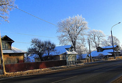 in winter. (Stokatto) Tags: road blue winter sky cold tree home beautiful fun frost azure hoar 500px
