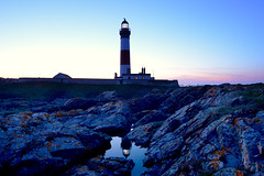 Buchan Ness in the blue hour (iancowe) Tags: pink sea lighthouse reflection pool rock night evening scotland twilight aberdeenshire dusk north scottish stevenson granite buchan ness gloaming peterhead northernlighthouseboard buchanness nlb boddam