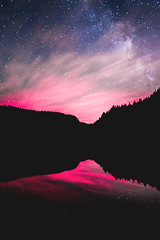 Night Mirror (martinz64) Tags: trees lake canada reflection water silhouette stars landscape britishcolumbia galaxy astrophotography squamish alicelake nightscapes galactic lightpollution milkyway nightskies bunlee bunleephotography nightscpes