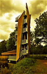 Watching tower (Mado AwaD) Tags: park camera wood light sky brown lake color building green tower art nature colors grass weather skyline architecture stairs creek forest skyscape season lens landscape ma spring high nice belgium belgie outdoor kunst air watching may explore creation staircase jungle trust creeks laks bushypark mado highview 2016 uitkijktoren watchingtower nicebuildind nicecpture