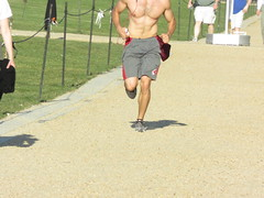 IMG_0732 (FOTOSinDC) Tags: shirtless hairy man muscles back arms arm legs candid chest leg handsome running sweaty sweat guns jogging runner jogger