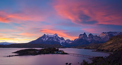 Pehoe Lodge at Sunset (Waldemar*) Tags: chile bridge sunset panorama patagonia lake latinamerica southamerica nature clouds landscape island nationalpark nikon scenery view scenic andes vista torresdelpaine parquenacional lagopehoe loscuernos leefilter afs1635mmf4gvr pehoelodge d800e