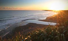 across the bite (Paul J's) Tags: sunset beach landscape bokeh coastal tasmansea taranaki kaupokonui