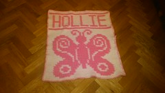Butterfly blanket for Hollie (dochol) Tags: chart cute wool butterfly handmade name crochet craft graph yarn homemade blanket afghan alphabet hook manta personalised croche babybalanket haakenwert