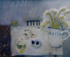 Making space for figs and freesias (sprinkling happiness) Tags: flowers stilllife art pencils ceramics interiors chairs tiles tables figs oilbars