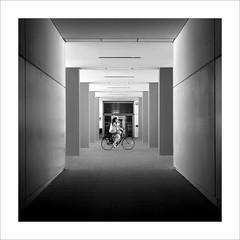 La ciclista / The cyclist (ximo rosell) Tags: light blackandwhite bw blancoynegro luz architecture arquitectura nikon squares bn d750 ritmo llum profundidad ximorosell
