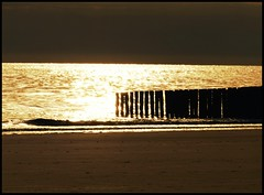 Bay of Gold (broombesoom) Tags: light sea reflection beach netherlands strand gold licht meer sonnenuntergang sundown zeeland northsea lightreflection nordsee groyne reflektion wellenbrecher westenschouwen lichtspiegelung