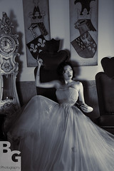 1W8A5235_1530 B&W (BG photoguy) Tags: wedding bw clock bride model grandfather royal throne bgphotography
