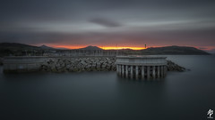Sunset at the Harbour (fearghal breathnach) Tags: greystones sunset greystonesharbour harbour sea littlesugarloaf sugarloafmountain seascape architecture longexposure stillness tones