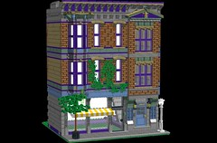 Purple Pharmacist WIP (Dakar A) Tags: lego modular building moc purple medium lilac brick ivy awning bay window gable ldd digital