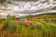 Angry Sky (KPortin) Tags: sky abandoned grass clouds truck fence deteriorated htt douglascounty abandonedtruck