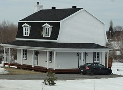 Island of Orleans near Quebec. Modern house in the French style. (denisbin) Tags: houses snow waterfall quebec gondolier saintlawrence bridhe iledorleans islandoforleans