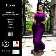 Elisa Dress - Purple Version (by Suan Yootz) Tags: black outfit dress avatar lara secondlife marketplace elisa maitreya