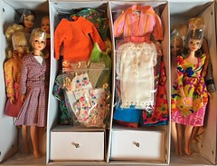 Francie Storage (2 of 2) (Foxy Belle) Tags: francie doll storage barbie mattel vintage clothing case vinyl repro organization keeping mod collection casey twiggy 1960s