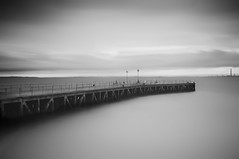 Barred (Upscape) Tags: longexposure sea blackandwhite bw water concrete mono essex southend shoeburyness ndfilter shoebury