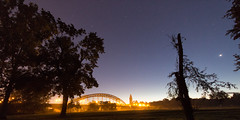 Morgenstimmung (diwan) Tags: city nightphotography bridge light sky night canon river germany geotagged deutschland eos google colours view place nacht outdoor himmel magdeburg stadt elbe dunkel plugins farben lightroom langzeitbelichtung longexposures sternbrcke 2015 fotogruppe saxonyanhalt sachsenanhalt nachtaufnahmen canoneos650d viveza2 fotogruppemagdeburg nikcollection geo:lon=11634744 geo:lat=52115621