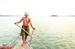 With the boatman (SteTre.) Tags: portrait water river boat asia cambodia kh mekong boatman kratie