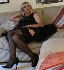 Black stockings (bethany_labelle) Tags: black stockings dress silk tgirl transvestite suspenders