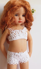 Crochet underwear for Little Darling (Maria Kłopotowska) Tags: white panties bag shoes doll underwear bra crochet lingerie cotton shorts crocheted slippers littledarling effner