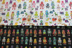 robots in space & robots lineup (Cecca W) Tags: patterns spoonflower basiccottonultra swatch cotton fabric pattern design patterndesign surfacedesign illustration robots