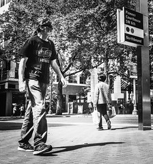 Urban Denizens (TMimages PDX) Tags: road street city people urban blackandwhite monochrome buildings portland geotagged photography photo image streetphotography streetscene sidewalk photograph pedestrians pacificnorthwest avenue vignette fineartphotography iphoneography