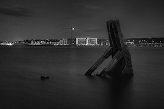 new and old (rich lewis) Tags: longexposure blackandwhite water dock cardiff cardiffbay cardiffdock