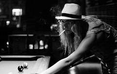 shooting pool dos (xxthecountxx) Tags: pool radio smoke fedora miamibeach 2013 sal50f14 dannyvaldez sonya77