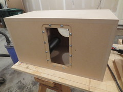 Mounting hole for amp cut out of back (burritobrian) Tags: diy speaker boombox overnightsensations speakerbuild sd215a88