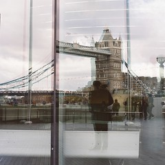 tower bridge reflection (T_Corcoran) Tags: reflection london rollei rolleiflex towerbridge kodak portra portra400 6008 rollei6008