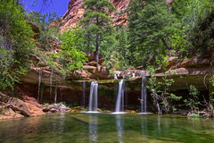 Double Falls (baur.yvonne) Tags: longexposure southwest water pool creek outdoors utah waterfall solitude hiking canyon zionnationalpark fallingwater rightforknorthcreek