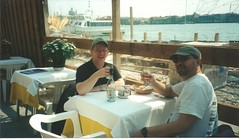 Larry and Jim have lunch at Ristorante Gianni - Venice - 2002 (litlesam1) Tags: venice restaurants jim larry italy2002