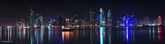 Westbay Cityscraper View (A-Rahiem) Tags: morning sea portrait night skyscraper stars boat olympus panasonic zuiko 45mm doha qatar westbay