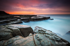 Susan Gilmore (Kiall Frost) Tags: ocean blue red orange brown sun color colour beach water clouds sunrise newcastle nikon rocks long exposure surf australia le lee filters susangilmore susangilmorebeach kiallfrost d800e