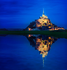Mont Saint-Michel Reflection (Philipp Klinger Photography) Tags: ocean longexposure blue light sunset shadow sea mountain france reflection tower english church water abbey field grass saint architecture night reflections landscape lights evening la nikon frankreich brittany long exposure ray shadows cathedral tripod hill illumination bretagne illuminated atlantic reflected hour normandie rays bluehour michel normandy mont spiegelung atlanticocean channel manche montsaintmichel d800 saintmichel basse lamanche beauvoir bassenormandie nikon1635mm