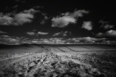 prior to returning (Jon Downs) Tags: light bw cloud white black art grass clouds digital canon dark downs landscape ir photography eos photo jon flickr artist mood photographer post image path picture pic photograph infrared posts wiltshire footpath avebury publicfootpath 400d jondowns