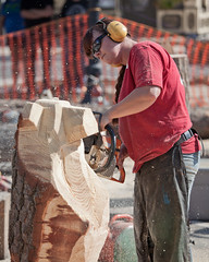 05 Oct. 2013. Manassas, VA. Chainsaw Chick at Work (The UberSteve) Tags: festivals manassas oldtownmanassas