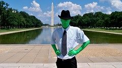 Zentai in front of the Washington Monument (SchuminWeb) Tags: park man men green monument pool hat shirt clouds project mall ties reflecting march dc washington memorial suits pants mask ben nps district web over protest hats july tie columbia suit demonstration masks shirts national lincoln service fedora masked activism nationalparkservice anonymous 2008 protests protester activists anon protesters activist demonstrators protestors 9000 fedoras protestor zentai chanology zentais schumin schuminweb