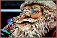 First sighting of the season (* RICHARD M (Over 6 million views)) Tags: santa christmas street xmas portrait sculpture statue portraits beard fun happy glasses model traditional seasonal models smiles culture beards traditions statues happiness whiskers portraiture specs fatherchristmas santaclaus spectacles sculptures southport botanicgardens merseyside sefton churchtown