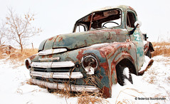 Eye-Popping Fargo (/ shadows and light) Tags: old trees winter snow cold green abandoned clouds vintage emblem countryside rusty overcast pickup gritty grill manitoba textures vehicles weathered trucks chrysler tallgrass beaters clunkers grittiness windygates rustbuckets 1950fargo